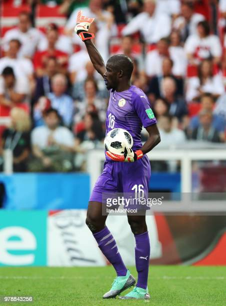 Senegal goalkeeper Khadim Ndiaye is seen during the 2018 FIFA World Cup Russia group H match between Poland and Senegal at Spartak Stadium on June 19...