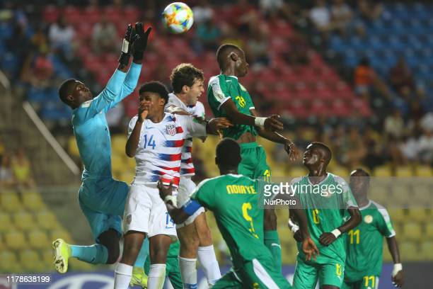 Senegal goalkeeper Ousmane Ba of Senegal keep a ball during the Group D Match between USA and Senegal in the FIFA U-17 World Cup Brazil 2019 at...