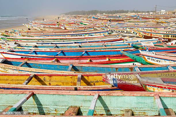 Senegal, Kayar, rows of colorful fishing boats