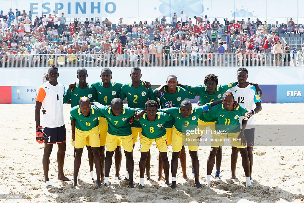 Senegal line up prior to the Group A FIFA Beach Soccer World Cup match between Japan and Senegal held at Espinho Stadium on July 13, 2015 in Espinho, Portugal.