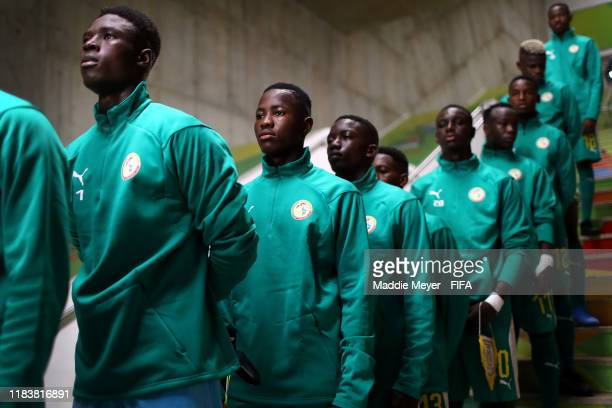 Senegal lines up in the tunnel before the Group D Match between USA and Senegal in the FIFA U17 World Cup Brazil 2019 at Estádio Kléber Andrade on...
