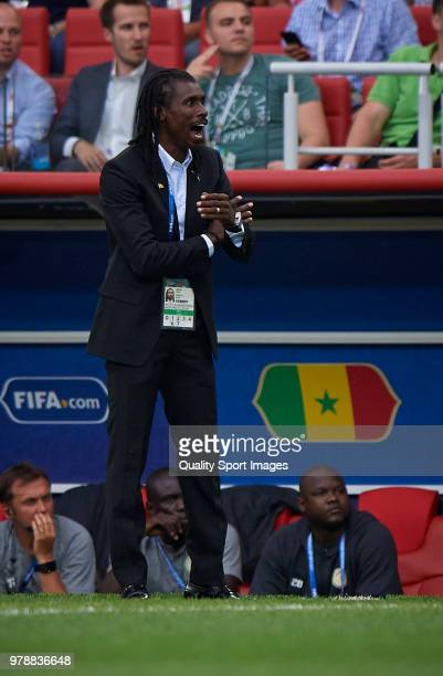 Senegal manager Aliou Cisse reacts during the 2018 FIFA World Cup Russia group H match between Poland and Senegal at Spartak Stadium on June 19 2018...