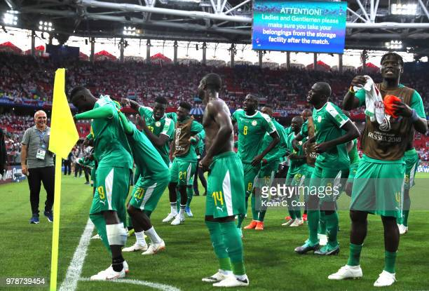 Senegal players acknowledge the fans during the 2018 FIFA World Cup Russia group H match between Poland and Senegal at Spartak Stadium on June 19...