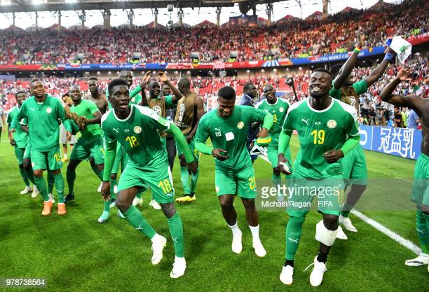 Senegal players celebrate after their sides victory in the 2018 FIFA World Cup Russia group H match between Poland and Senegal at Spartak Stadium on...
