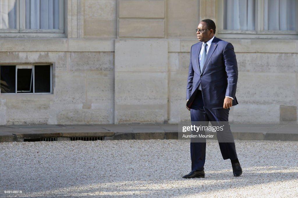 French President Emmanuel Macron Receives Senegal President Macky Sall At Elysee Palace In Paris : News Photo