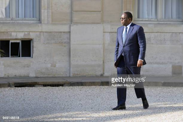 Senegal President Macky Sall arrives for a meeting with French President Emmanuel Macron at Elysee Palace on April 20 2018 in Paris France Senegal...