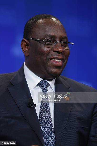 Senegal President Macky Sall speaks during in the 'Game Plan Shaping the Future of a FastGrowing Continent' panel during the USAfrica Business Forum...