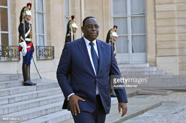 Senegal President Macky Sall speaks to the press after a meeting with French President Emmanuel Macron at Elysee Palace on April 20 2018 in Paris...