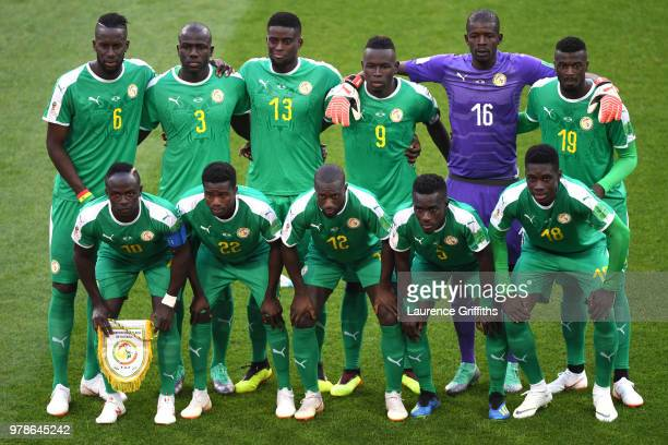 Senegal team lines up prior to the 2018 FIFA World Cup Russia group H match between Poland and Senegal at Spartak Stadium on June 19 2018 in Moscow...