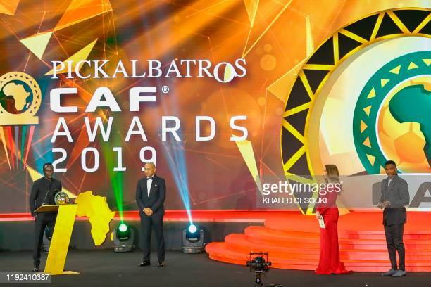 Senegal winger Sadio Mane speaks after winning the Player of the Year award during the 2019 CAF Awards in the Egyptian resort town of Hurghada on...