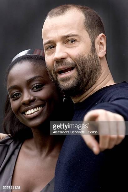 "Senegalese actress Aissa Maiga and actor Fabio Volo at the photo call of ""Bianco e Nero"" in Rome."