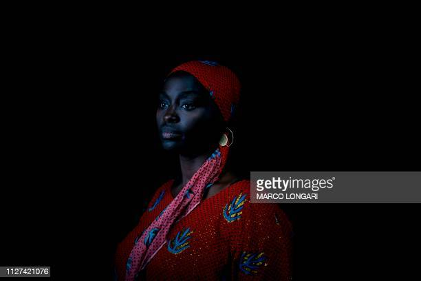 Senegalese born French actress Aissa Maiga poses for a portrait in Ouagadougou, on February 25, 2019 during the 2019 edition of the FESPACO...