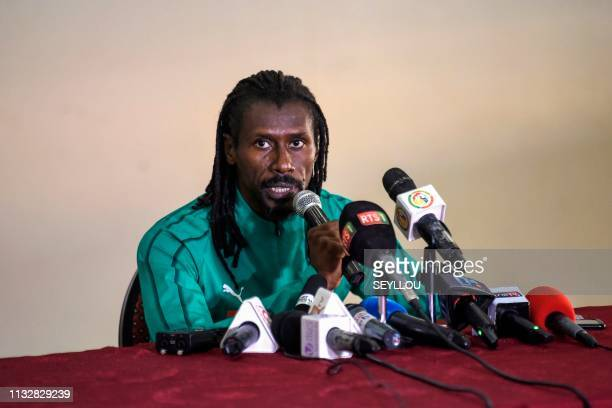 Senegalese coach Aliou Cisse gives a press conference after a training session of the Senegal national football team on the eve of their friendly...