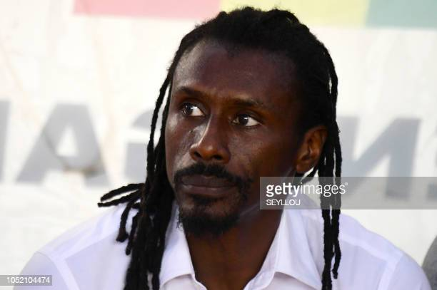 Senegalese coach Aliou Cisse is pictured during the African Cup of Nations match Senegal v Sudan on October 13 2018 at the Leopold Sedar Seghor...