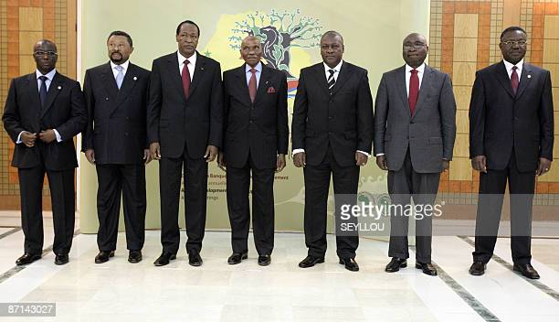 Senegalese finance minister Abdoulaye Diop President of the African Union commission Jean Ping Burkina Faso's President Blaise Compaore Senegalese...