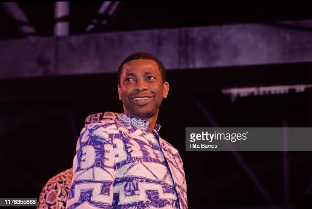 Senegalese musician Youssou N'Dour performs onstage, New York, New York, 1997.
