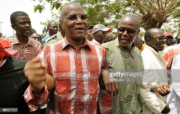 Senegalese opposistion leaders Abdoulaye Bathily of the Democratic League/Movement for the Labor Party Ousmane Tanor Dieng of the Socialist Party of...