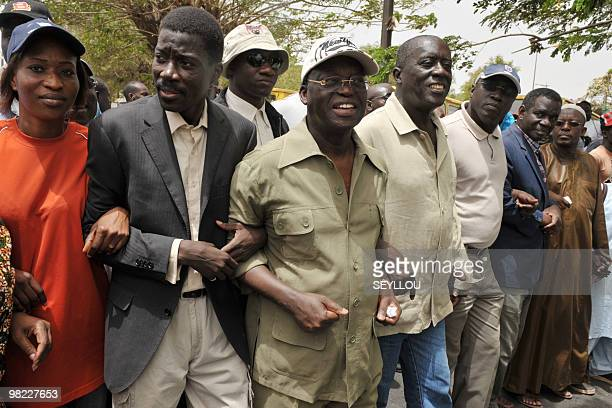 Senegalese opposistion leaders Talla Sylla of the Jef/Jel party former Foreign Minister Moutapha Niasse Landing Savane of the AndJëf/African Party...