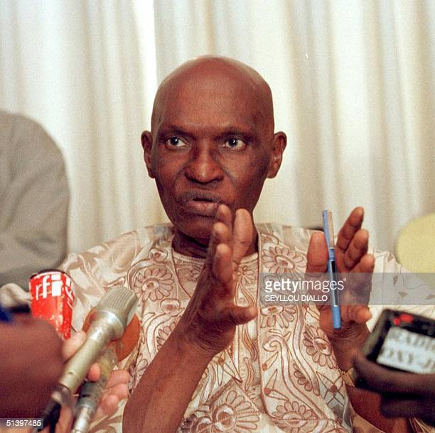 Senegalese opposition leader Abdoulaye Wade speaks during a press conference 03 March 2000 at his home in Dakar Sunday's vote in the presidential...