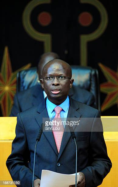 Senegalese opposition party PDS' deputy Modou Diagne Fada reads a motion of censure to force the resignation of Senegal's Prime minister Abdoul Mbaye...