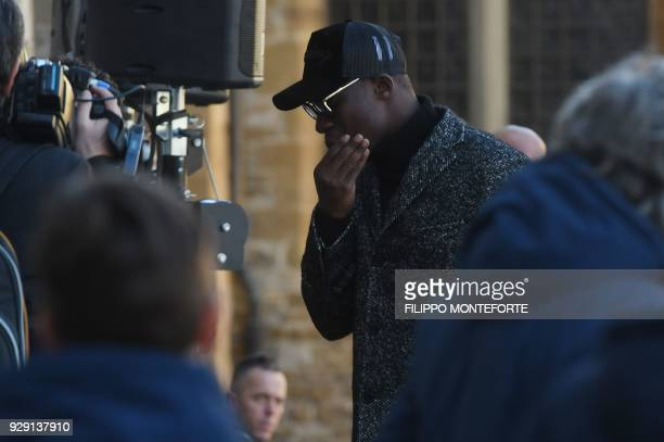 Senegalese player Babacar arrives at the funeral of Fiorentina's captain Davide Astori on March 8 2018 in Florence Italian player Davide Astori...