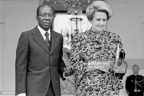 Senegalese poet, politician, and cultural theorist Leopold Sedar Senghor and his wife Colette Hubert Senghor are invited at the Elysee Palace the day...