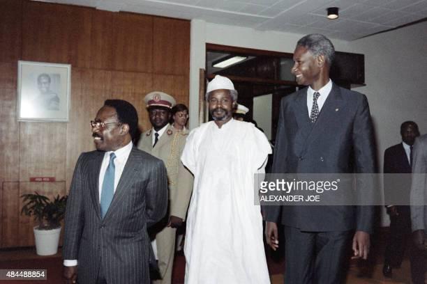 Senegalese president Abdou Diouf , Gabonese president Omar Bongo and Chadian president Hissene Habre arrive at the OAU summit, on September 23, 1987...