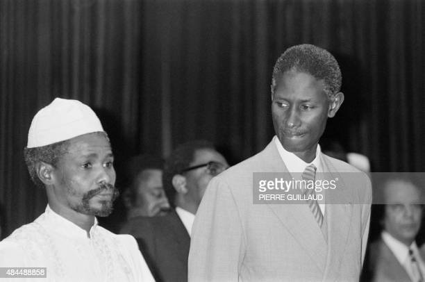 Senegalese President Abdou Diouf looks at Chad president Hissene Habre, on October 08 at the opening session of Franco-African summit in Kinshasa.