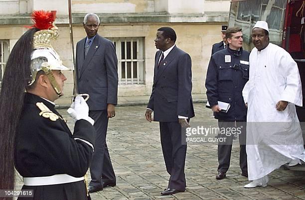 Senegalese President Abdou Diouf Togolese President Gnassingbe Eyadema and Malian President Alpha Oumar Konare arrive at the Hotel de Lassay for a...