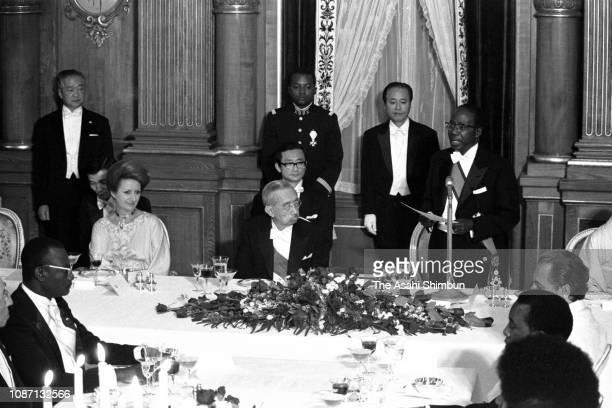 Senegalese President Leopold Sedar Senghor addresses while his wife Colette Hubert Senghor and Emperor Hirohito listen during the return reception at...