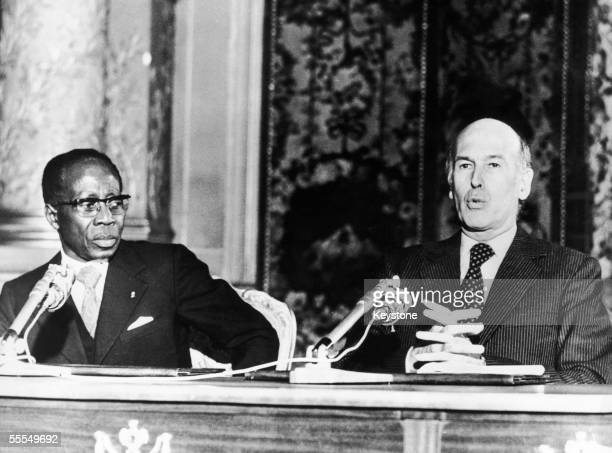 Senegalese president Leopold Sedar Senghor with French president Valery Giscard D'Estaing at a French-African summit meeting in Paris, 24th May 1978.