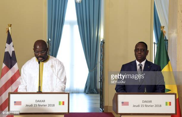 Senegalese president Macky Sall and his Liberian counterpart George Weah hold a joint press conference during their meeting at the presidential...