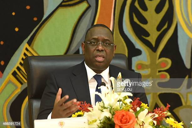 Senegalese President Macky Sall gives a press conference on March 17 2015 at the presidential palace in Dakar during which he announced that he...