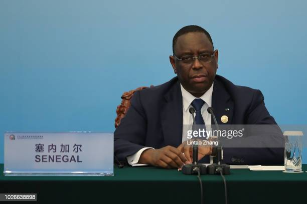 Senegalese President Macky Sall speaks during the during 2018 Beijing Summit Of The Forum On ChinaAfrica Cooperation Joint Press Conference at the...