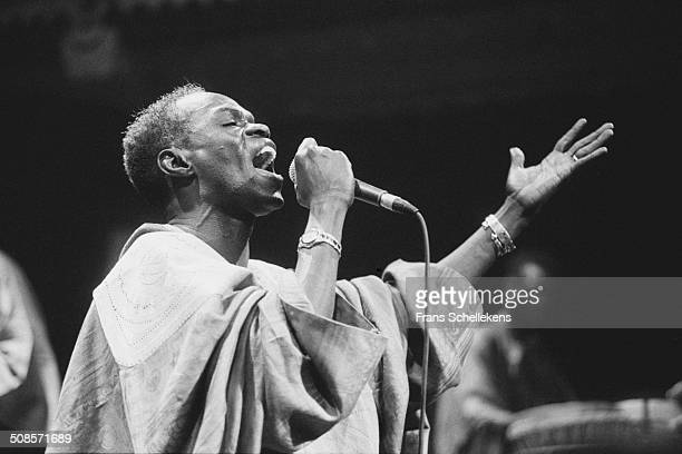 Senegalese singer Baaba Maal performs at the Paradiso on 2oth February 1995 in Amsterdam, Netherlands.