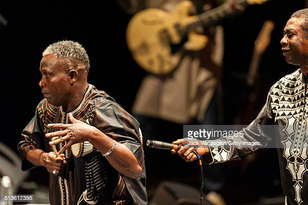 Senegalese singer Youssou N'Dour and Assane Thiam on the tama perform with N'Dour's band Super Etoile de Dakar during the 2014 Next Wave Festival at...
