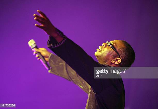 Senegalese singer Youssou N'Dour entertains the audience during the GLOCAF Awards in Lagos on February 10 2009 The Confederation of African Football...