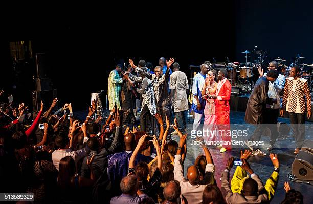 Senegalese singer Youssou N'Dour his band Super Etoile de Dakar take a bow after their 2014 Next Wave Festival performance at the BAM Howard Gilman...