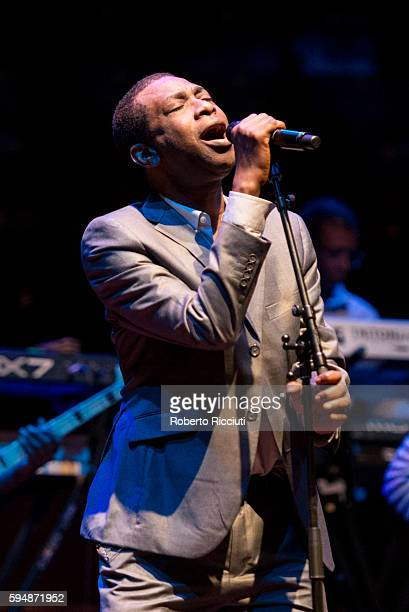 Senegalese singer Youssou N'Dour performs on stage during a dress rehearsal prior to a concert at Usher Hall on August 24 2016 in Edinburgh Scotland
