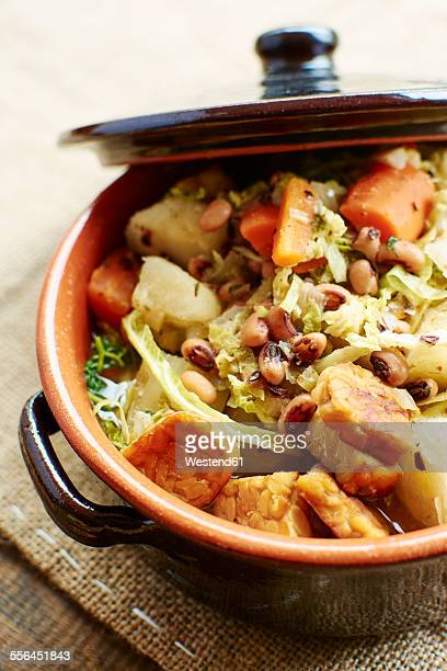 Senegalese stew with black-eyed peas, cabbage, carrots, cassava and tempeh