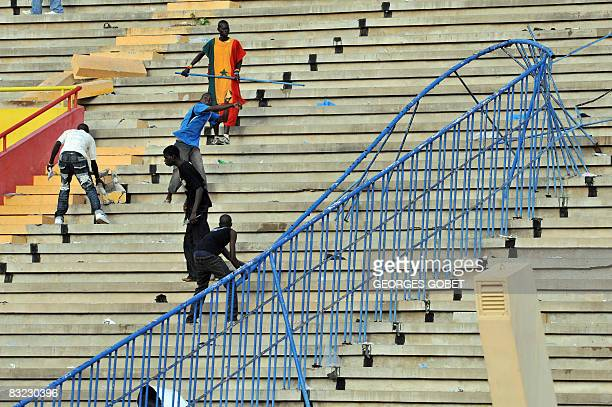Senegalese suporters discontented with the performance of their team cause violent incidents in the stands of the stadium at the end of the World Cup...