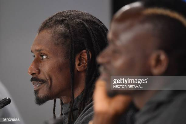 Senegal's coach Aliou Cisse attends a press conference in Ekaterinburg on June 23 on the eve of the Russia 2018 World Cup Group H football match...