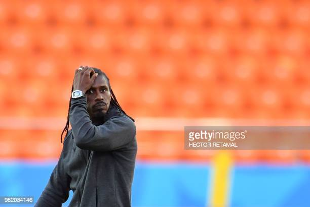 Senegal's coach Aliou Cisse attends a training session on June 23 2018 at Ekaterinburg Arena on the eve of the team's third match as part of the...