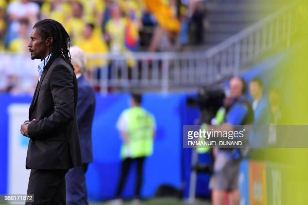 Senegal's coach Aliou Cisse attends the Russia 2018 World Cup Group H football match between Senegal and Colombia at the Samara Arena in Samara on...