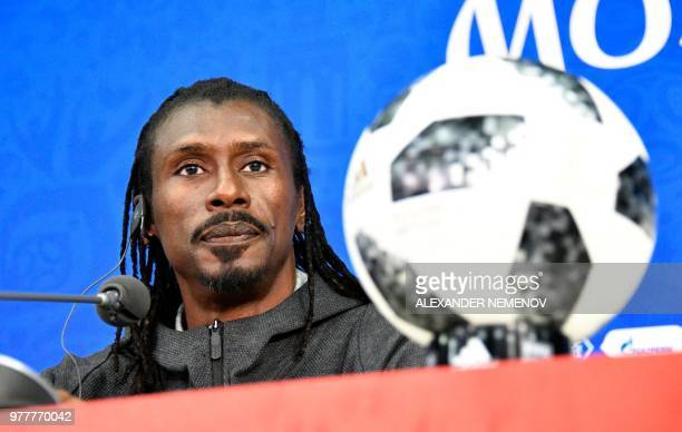 Senegal's coach Aliou Cisse gives a press conference on June 18 2018 in Moscow on the eve of the team's opening match as part of the Russia 2018...