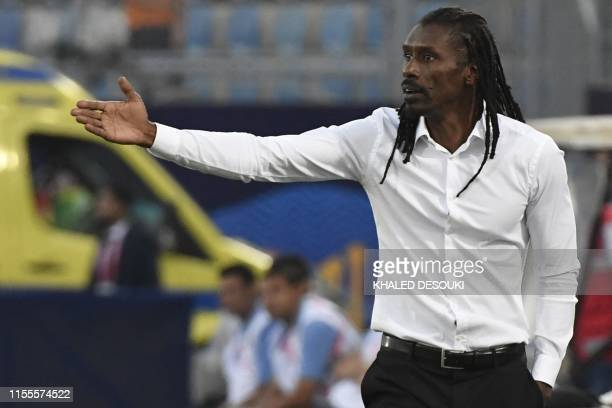 Senegal's coach Aliou Cisse gives his instructions during the 2019 Africa Cup of Nations Semifinal football match between Senegal and Tunisia at the...