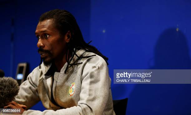 Senegal's coach Aliou Cisse looks on during a press conference prior to a friendly football match between Senegal and Bosnia at The Stadium Oceane in...