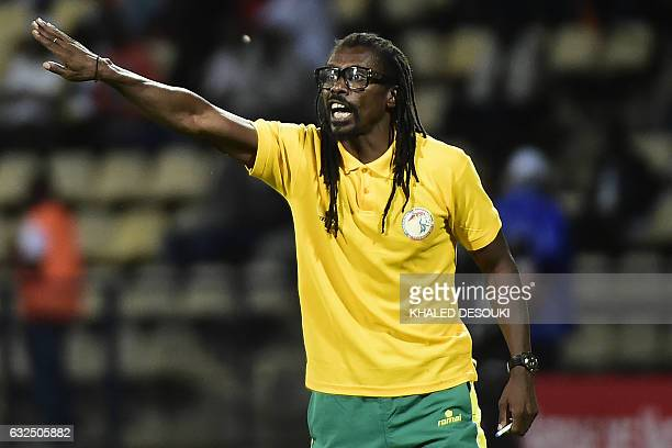 Senegal's coach Aliou Cisse reacts during the 2017 Africa Cup of Nations group B football match between Senegal and Algeria in Franceville on January...