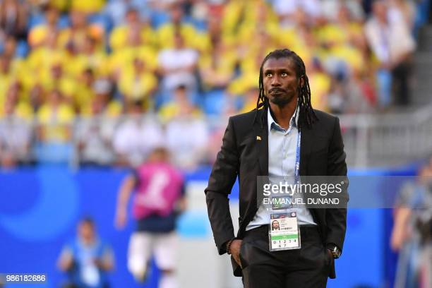 Senegal's coach Aliou Cisse reacts during the Russia 2018 World Cup Group H football match between Senegal and Colombia at the Samara Arena in Samara...