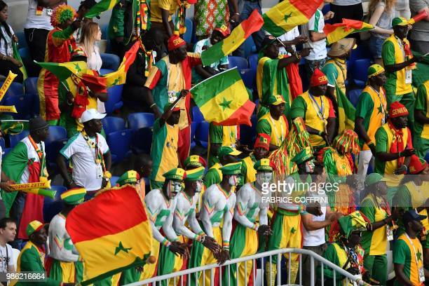 Senegal's fan cheer during the Russia 2018 World Cup Group H football match between Senegal and Colombia at the Samara Arena in Samara on June 28...